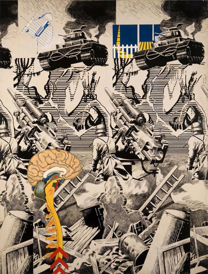 Alberto Solsona; Fernando Almela, Hazañas bélicas, 1972, Acrílico sobre tela, 116 x 81 cm, Colección MACBA. Donación Fundación Almela-Solsona.