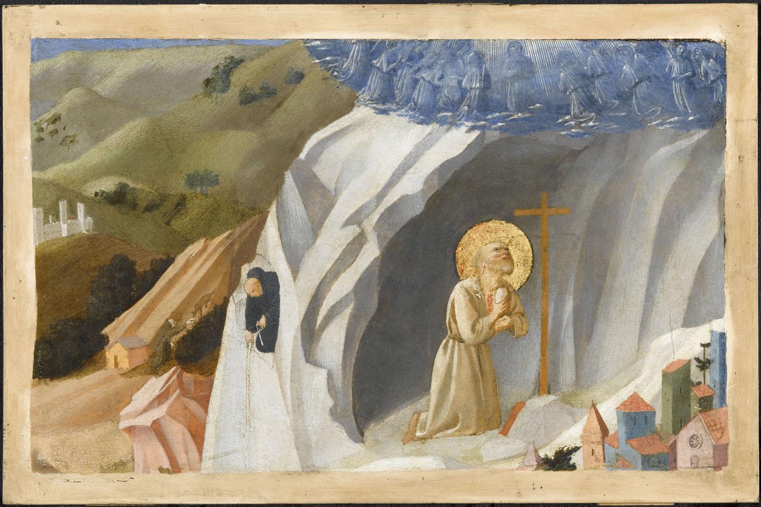 Escena de la Tebaida: san Benito en éxtais en el desierto, por Fra Angelico y su taller.