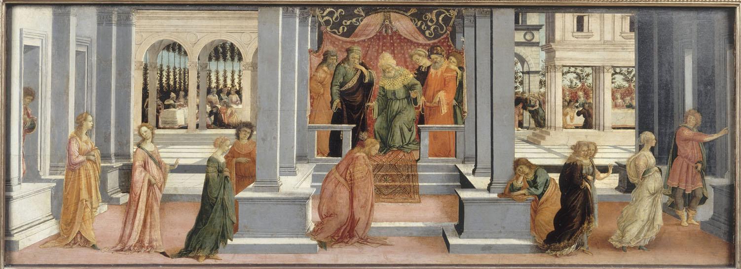 Escena de la historia de Esther por el rey Asuero, por Botticelli.