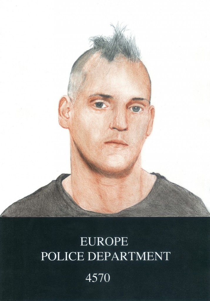 """""""Europa-Londres. 2012"""". Segunda pieza del work in progress """"Europa"""". Seis retratos a partir de las fichas policiales distribuidas durante los disturbios de verano del 2011 en Londres."""