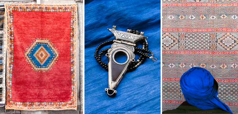 Artesanía bereber, alfombras Taznakht, joyas de plata y piedras semipreciosas. © Enrique Domínguez Uceta.