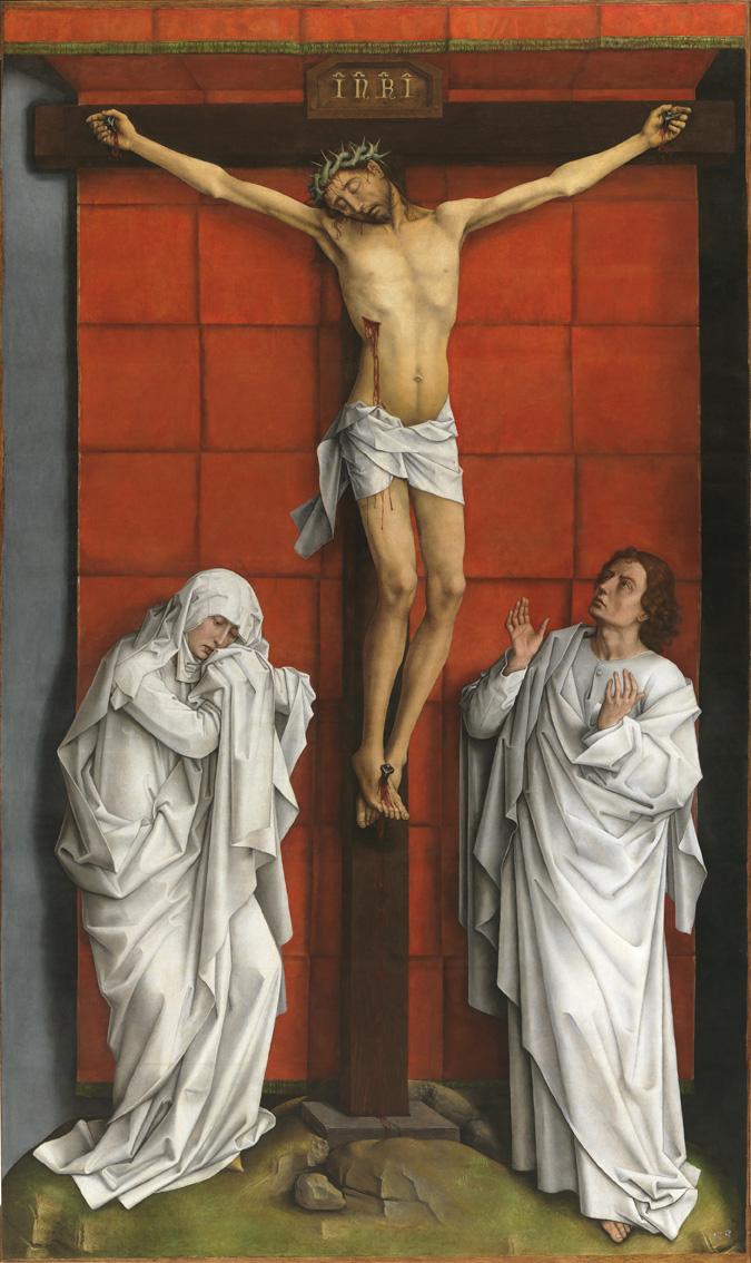 El Calvario, por Rogier van der Weyden, óleo sobre tabla de roble, h. 1457-64, Patrimonio Nacional. Real, Monasterio de San Lorenzo de El Escorial.