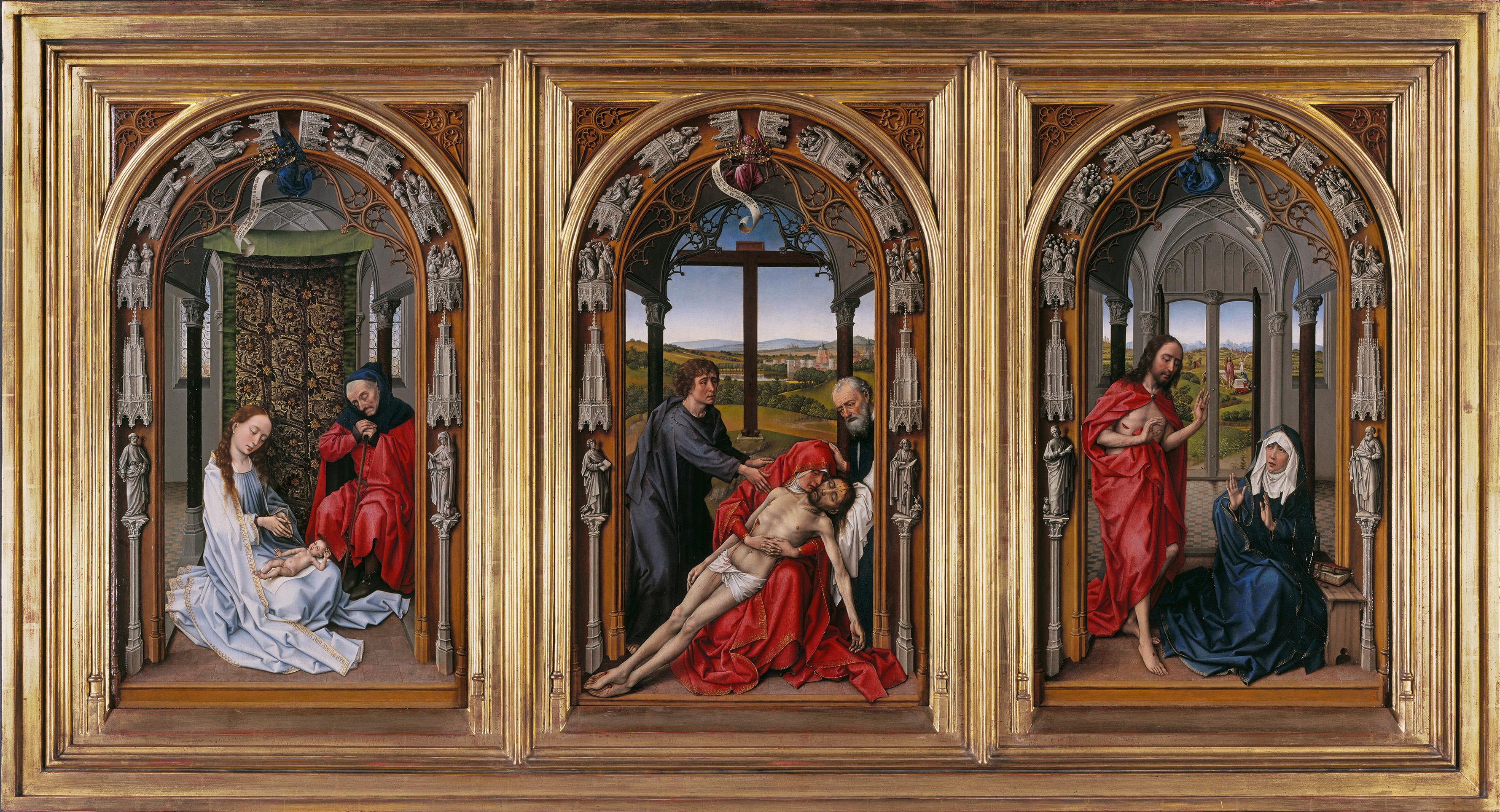 Tríptico de Miraflores, por Rogier van der Weyden, óleo sobre tabla de roble, antes de 1445, Berlín, Gemäldegalerie, Staatliche Museen. Arriba, detalle de El Calvario.
