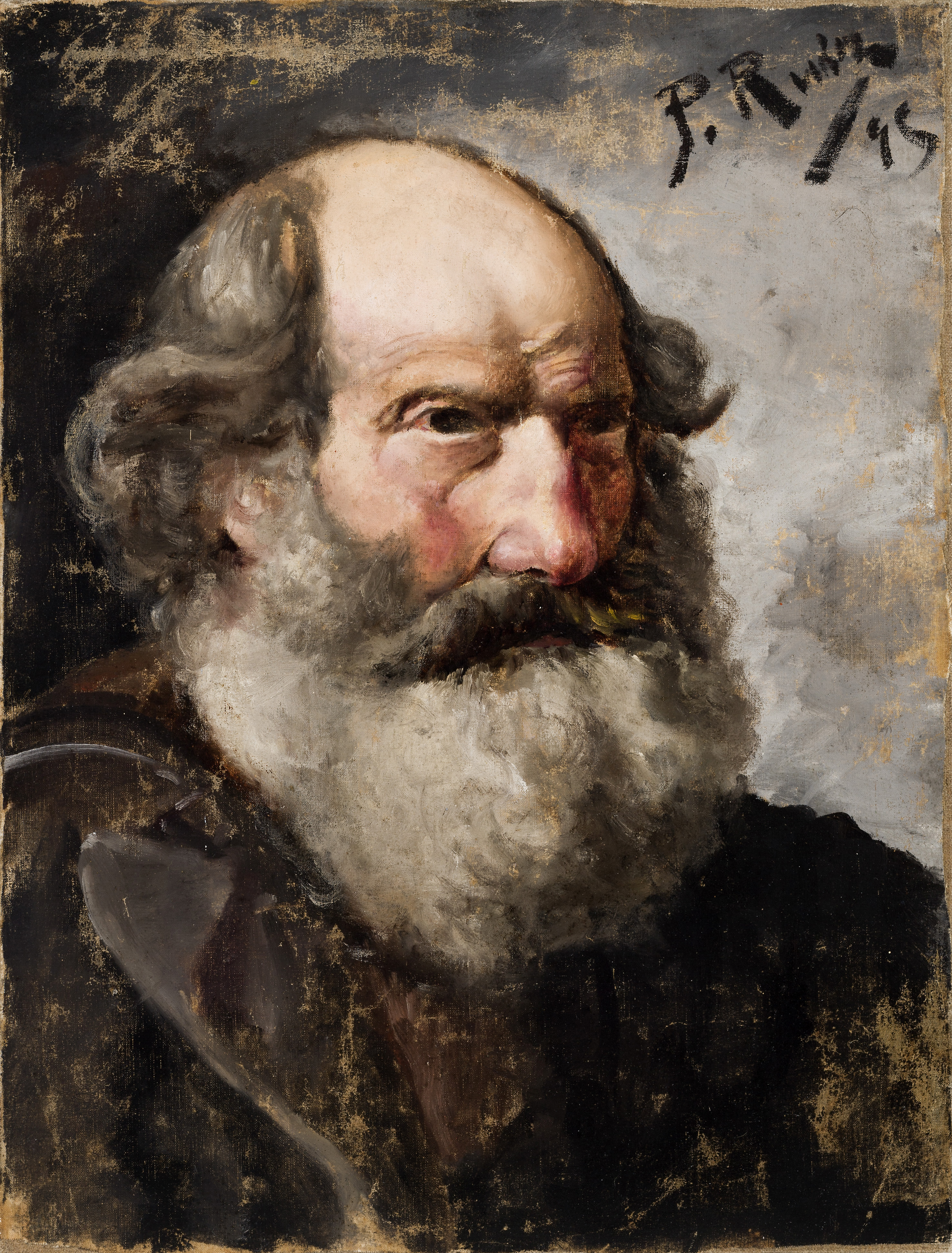 Retrato de anciano barbudo (Mendigo), La Coruña, 1895, óleo sobre lienzo, 48 x 36 cm, colección privada. Fotografía © Josep María de Llobet.