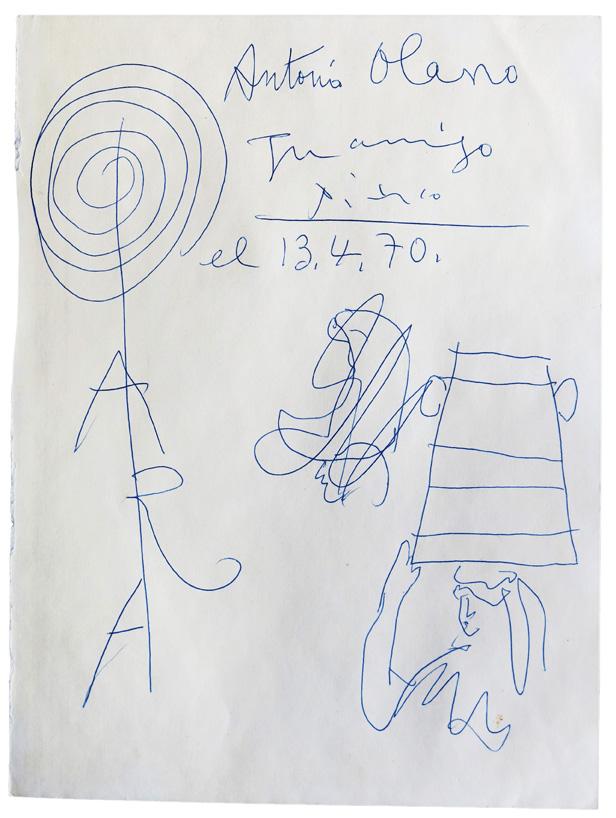 Mujer gallega con sella (Recuerdo coruñés), 13 de abril de 1970, bolígrafo sobre papel, Antonio D. Olano. Fotografía © R. V. N.