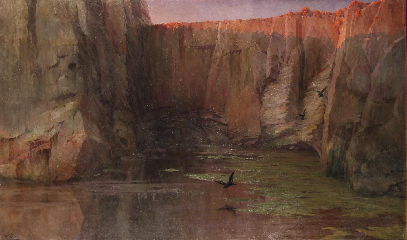 En este óleo Urgell muestra una Cataluña rural pero va más allá e introduce el tema de la muerte. Arriba, nueva pieza escultórica de Lambert Escaler.