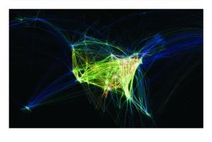 Flight Patterns, por Aaron Koblin, 2006, representa las trayectorias del tráfico aéreo en EE UU.