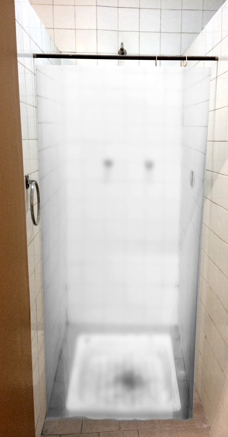 oscar munoz - cortina baño blanco y negro