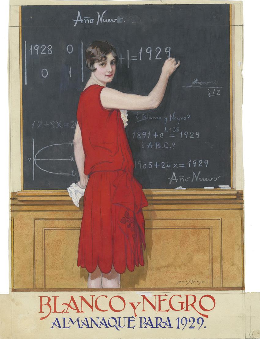 Almanaque para 1929, publica el 30 de diciembre de 1928 en Blanco y Negro. Arriba, El filósofo y la mariposa, 21 de marzo de 1909. Todas las imágenes, cortesía del Museo ABC.