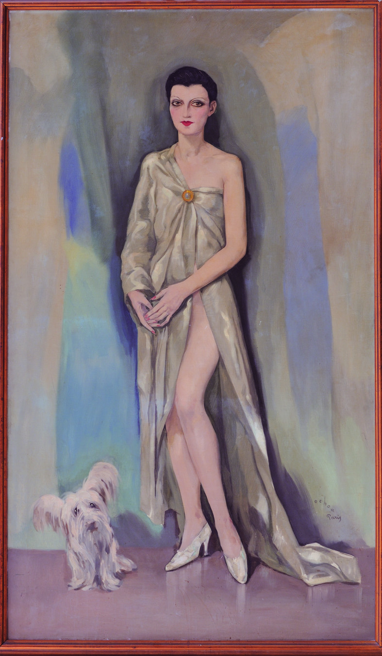 Dama chic de París, de Enrique Ochoa, óleo sobre lienzo, 115 x 200 cm. Arriba, Divan.