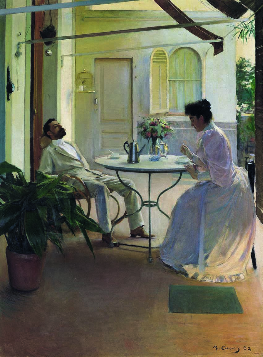 Escena doméstica al aire libre, de Ramon Casas, 1892, óleo sobre lienzo, 161 x 121 cm,  Colección Carmen Thyssen-Bornemisza.