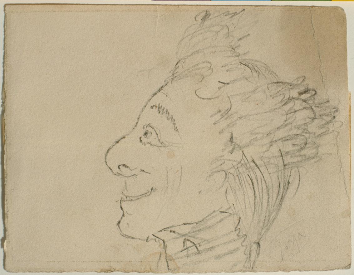 Caricatura masculina, de Rosario Weiss y Francisco de Goya, Madrid o Burdeos, 1821-1824, lápiz negro sobre papel.