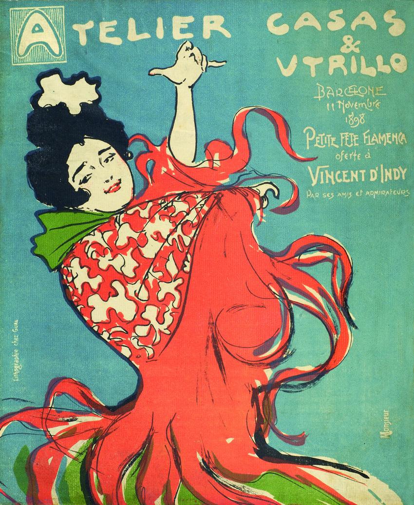 Atelier Casas & Utrillo. Pequeña fiesta flamenca ofrecida a Vincent d'Indy por sus amigos y admiradores, 11 de noviembre de 1898, litografía, 29 x 24 cm, Barcelona, MAE, Instituto del Teatro.