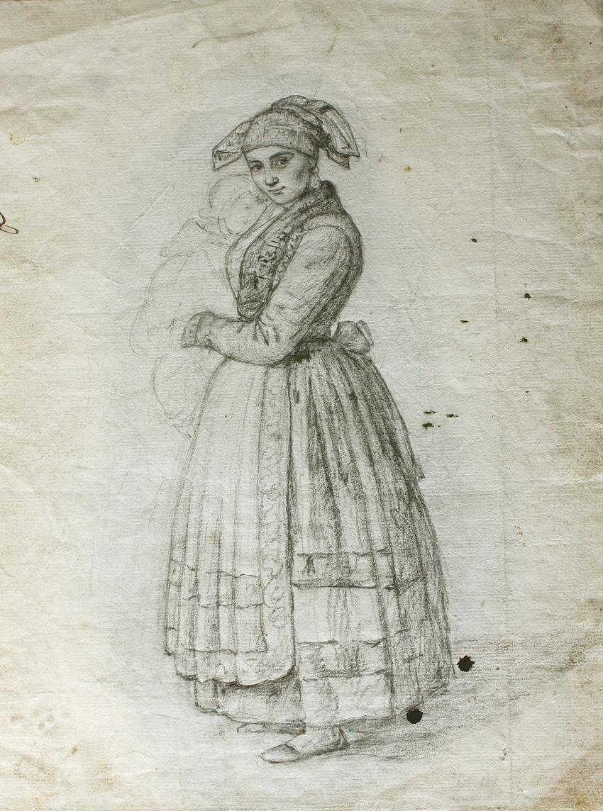 La Pasiega, de Rosario Weiss, Madrid, 1838, lápiz negro sobre papel verjurado.