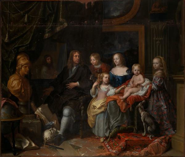 Everhard Jabach (1618-1695) y su familia, por Charles Le Brun, óleo sobre lienzo.
