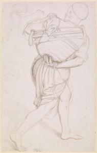 Estudio para San José, por William Holman Hunt, 1876, grabado a punta de plata con grafito en papel preparado, Londres, British Museum.