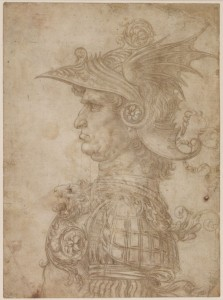 Un busto de un guerrero, por Leonardo da Vinci, h. 1475-1480, grabado a punta de plata en papel preparado, Londres, British Museum.