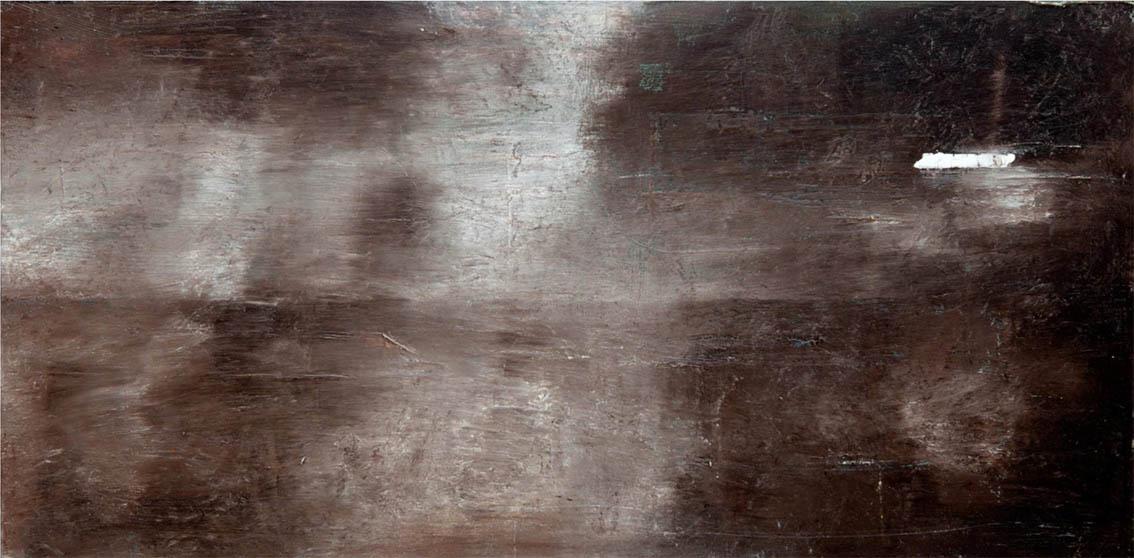 Niebla, óleo sobre madera. 30 x 60 cm, 2013. Arriba, Rompeolas, óleo sobre madera. 40 x 80 cm, 2014. Todas las imágenes, cortesía galería Antonio de Suñer.