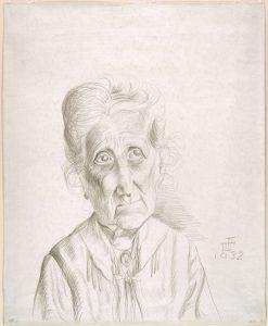 Mujer mayor, por Otto Dix, 1931, grabado a punta seca y grafito en papel preparado, Nueva York, The Museum of Modern Art.