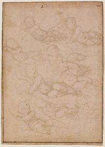 Estudios para un Niño Jesús, por Rafael, h. 1509, Londres, British Museum.