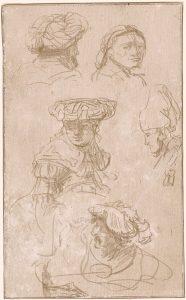 Estudio de cabezas, por Rembrandt van Rijn, h. 1633, grabado a punta de plata en vitela preparada, Rotterdam, Museo Boijmans Van Beuningen.