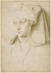 Retrato de una mujer joven desconocida, por Rogier van der Weyden, h. 1435-1440, grabado a punta de plata en papel preparado, Londres, British Museum.
