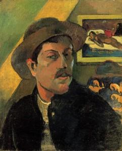 Autorretrato con sombrero, 1893, Museo de Orsay, París. En portada, Manao tupapau, 1892, Museo Albright-Knox, Búfalo.