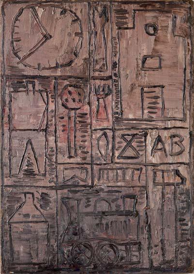 Graphisme au fond rose, 1939, por Torres-García. Óleo sobre madera. Colección particular, Madrid.