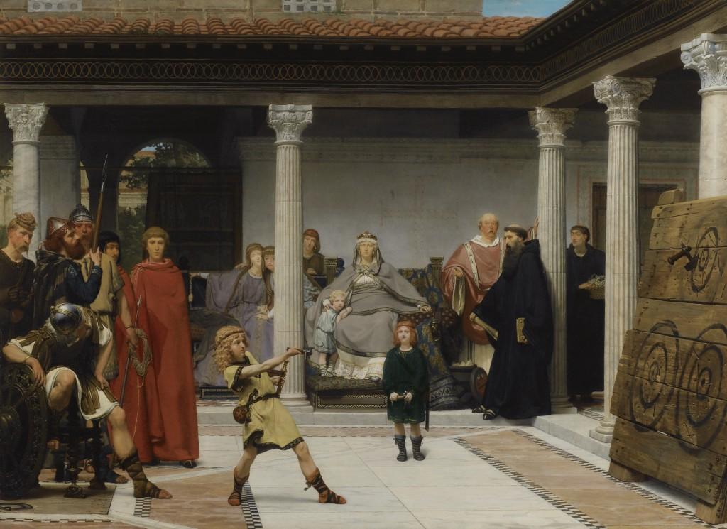 La educación de los hijos de Clovis, por Lawrence Alma-Tadema, 1861. Arriba, Las mujeres de Amphissa, por Lawreence Alma-Tadema, 1887.