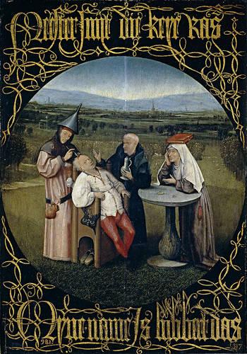 La extracción de la piedra de la locura (1494), por Hieronymus Bosch. óleo sobre tabla. Museo Nacional del Prado, Madrid.