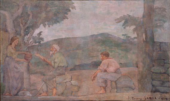 Mujer con cántaro (Mural de la casa del Barón de Rialp) 1905-1906.  Óleo sobre lienzo, Museo Nacional Centro de Arte Reina Sofía. Arriba, Puerto, 1934. Óleo sobre cartón. Colección particular, Barcelona.