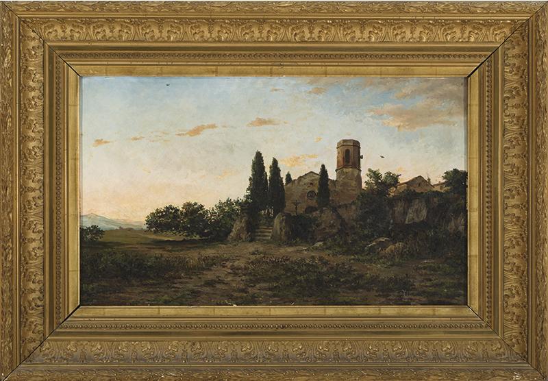 La oración de la tarde, de Modesto Urgell (Barcelona, 1839-1919), óleo sobre lienzo, 40 x 66 cm. Precio de salida, 1.750 euros.