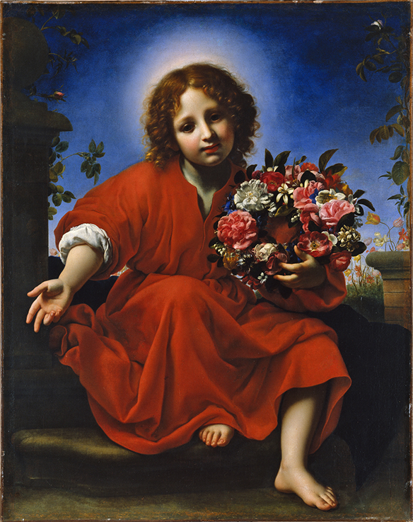 Niño Jesús con flores, por Carlo Dolci, 1663.Museo Thyssen-Bornemisza, Madrid.