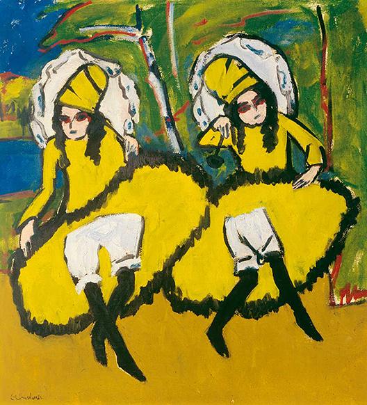 Bailarinas, por Ernst Ludwig Kirchner, 1910.