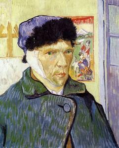Autorretrato con oreja vendada, por Vincent van Gogh, Arlés, enero 1889, óleo sobre lienzo, 60 x 49 cm, Londres, Courtland Galleries.