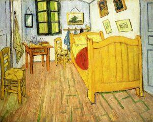 Dormitorio de Van Gogh, por Vincent van Gogh, Arlés, octubre 1888, óleo sobre lienzo, 72 x 90 cm, Ámsterdam, Museo Vincent van Gogh.