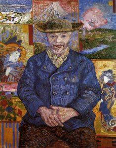 Retrato de Père Tanguy, por Vincent van Gogh, París, otoño 1887, óleo sobre lienzo, 92 x 75 cm, París, Museo Rodín.