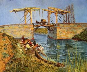 Puente de Langlois con lavanderas, por Vincent van Gogh, Arlés, marzo 1888, óleo sobre lienzo, 54 x 65 cm, Otterlo, Museo Kröller-Müller.