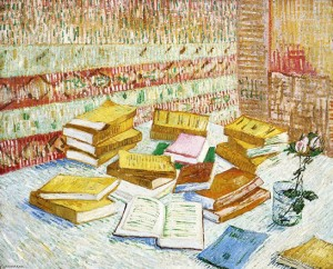 Naturaleza muerta con libros. Romans parisiens, por Vincent van Gogh, París, invierno 1887-88, óleo sobre lienzo, 73 x 93 cm, Perth, The Robert Holmes à court Collection.
