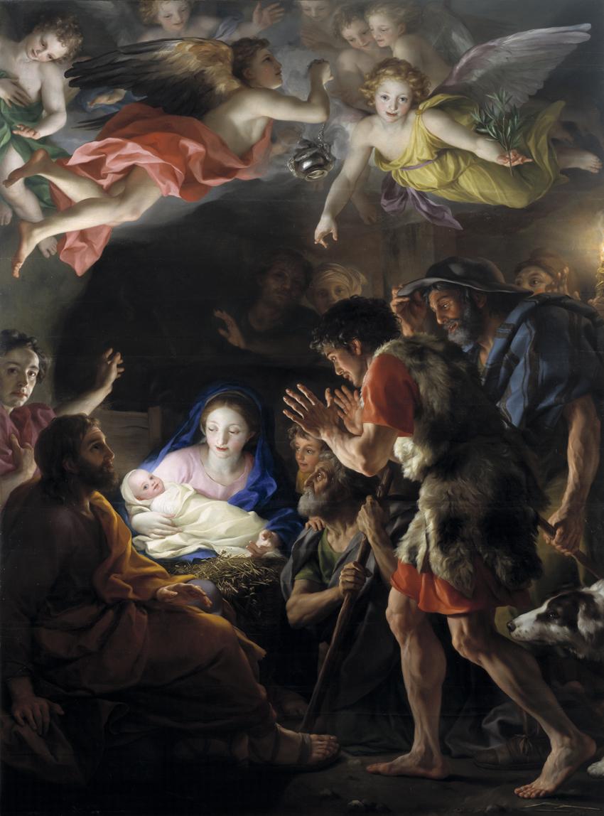 La adoración de los pastores, por Anton Mengs, óleo sobre tabla, 256 x 190 cm, Madrid, Museo del Prado.