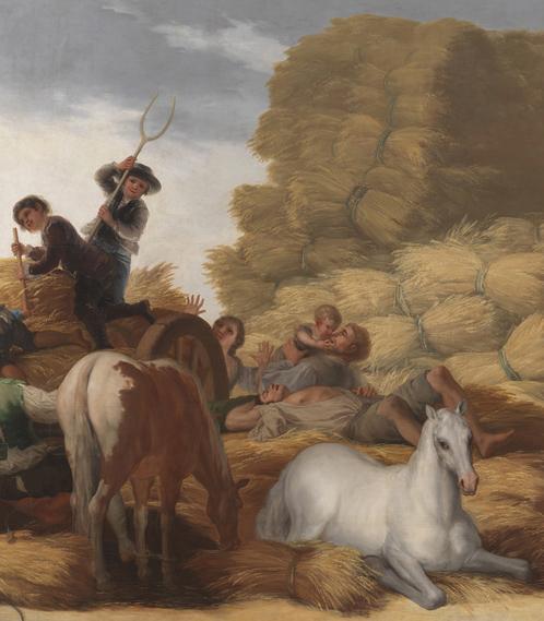 Detalle de los caballos y de los niños subidos en el carro.