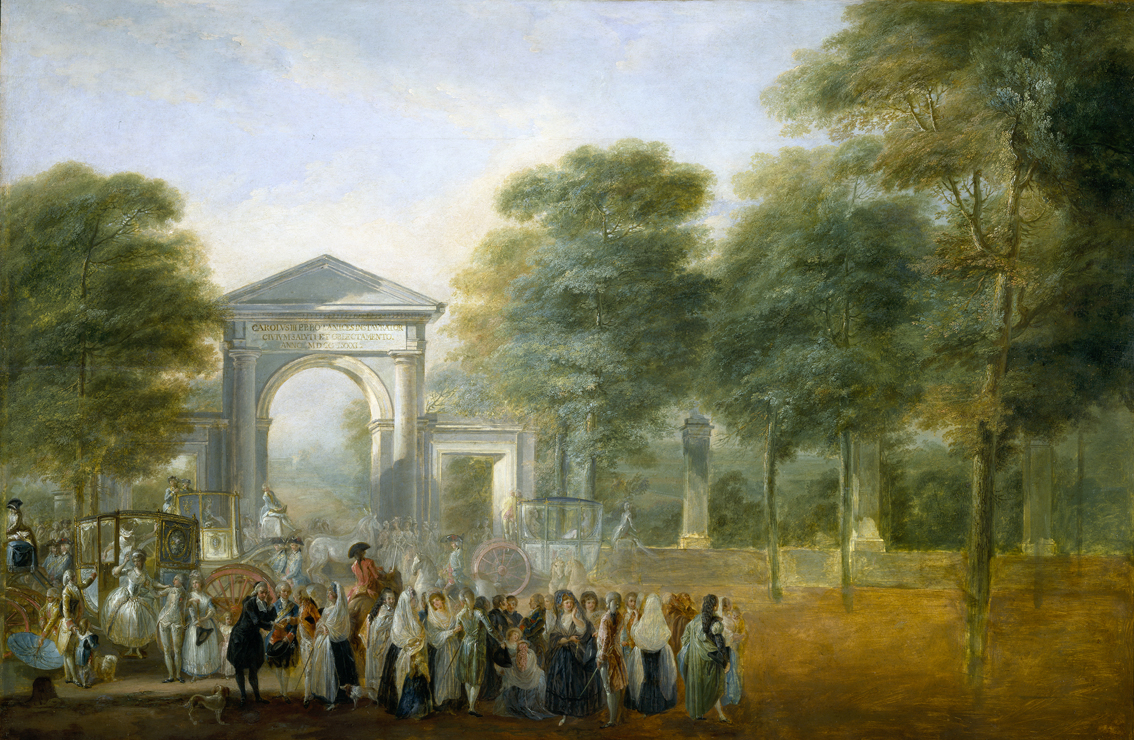 El Jardín Botánico desde el Paseo del Prado, por Luis Paret y Alcázar, óleo sobre tabla, 58 x 88 cm, 1790, Madrid, Museo del Prado.