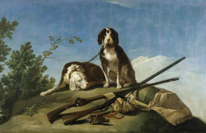 Perros en traílla, de Goya, óleo sobre lienzo, 112 x 174 cm, 1775, Madrid, Museo del Prado.