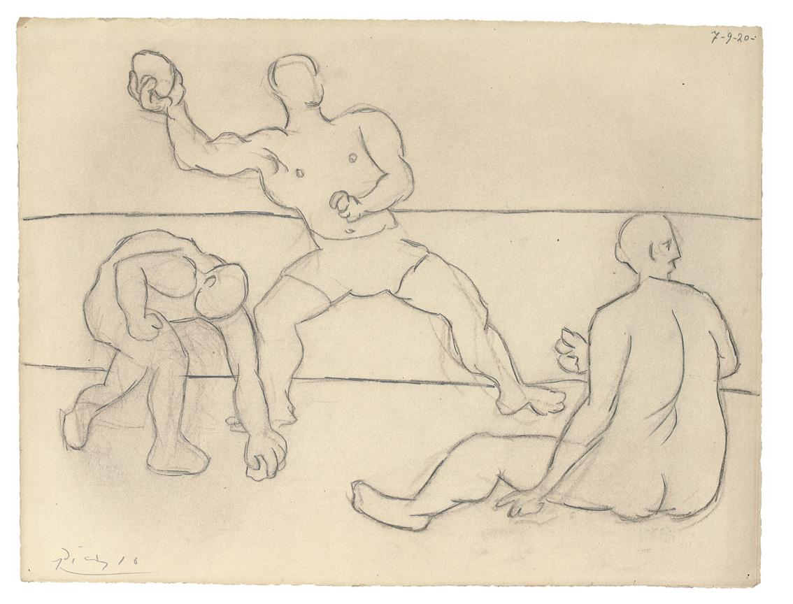Homme Lançant une pierrek, por Picasso, carboncillo y lápiz sobre papel, firmado y fechado 7-9-1920.