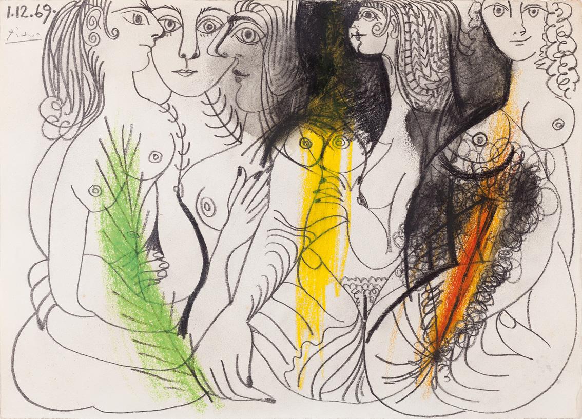Plusieurs femmes nues, por Picasso, lápiz y lápices de colores, fechado y firmado 1-12-1969, 25 x 33 cm.