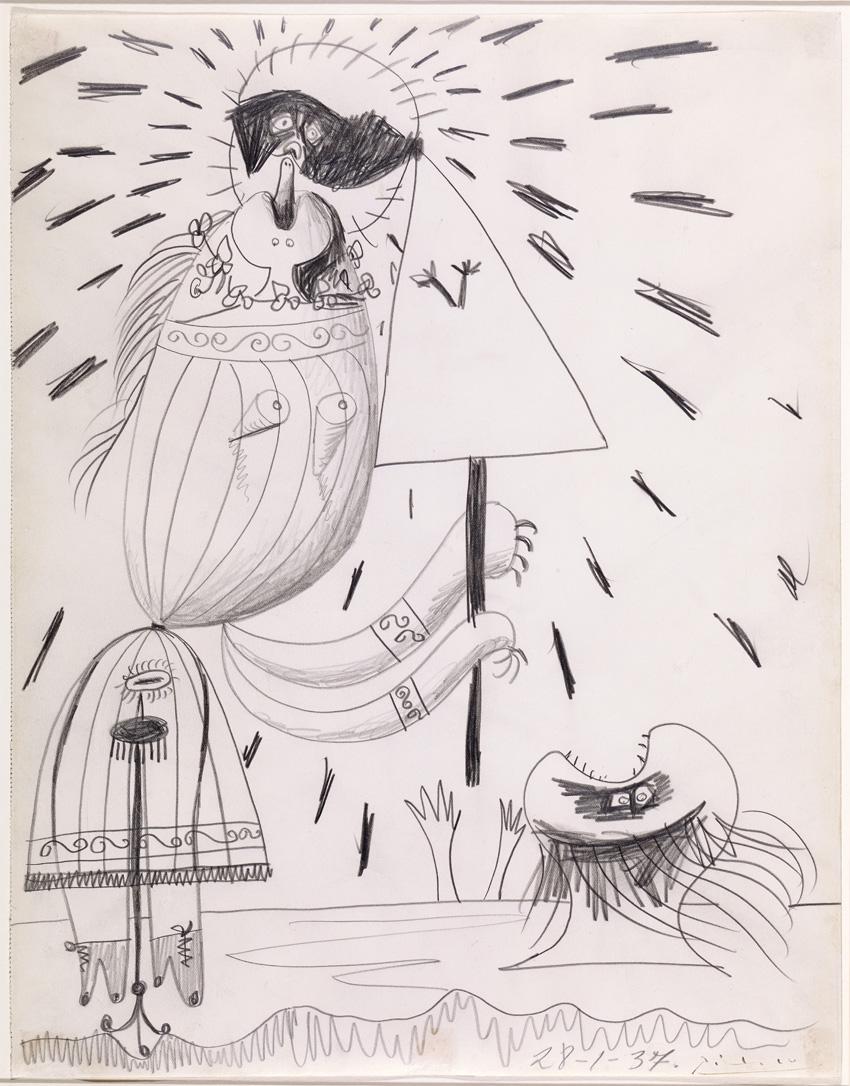 Figura, por Picasso, lápiz sobre papel, firmado y fechado 29-1-1937.
