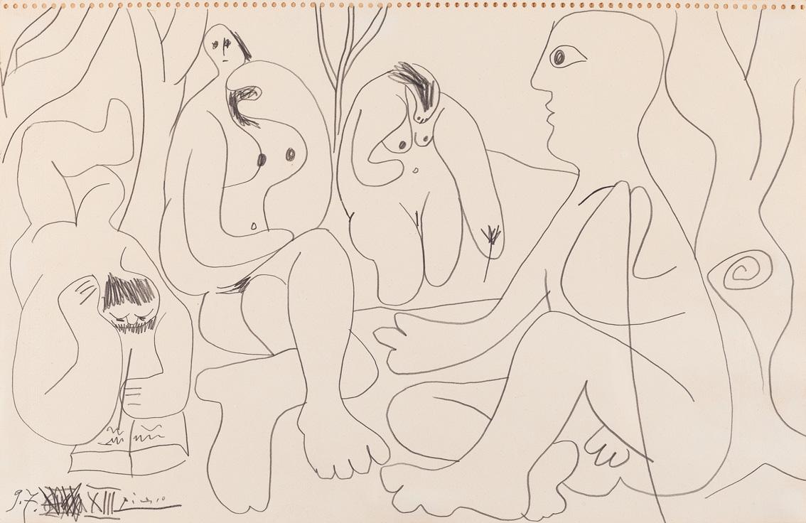 Les déjeneurs, por Picasso, lápiz sobre papel, firmado y fechado 9-7.1961.