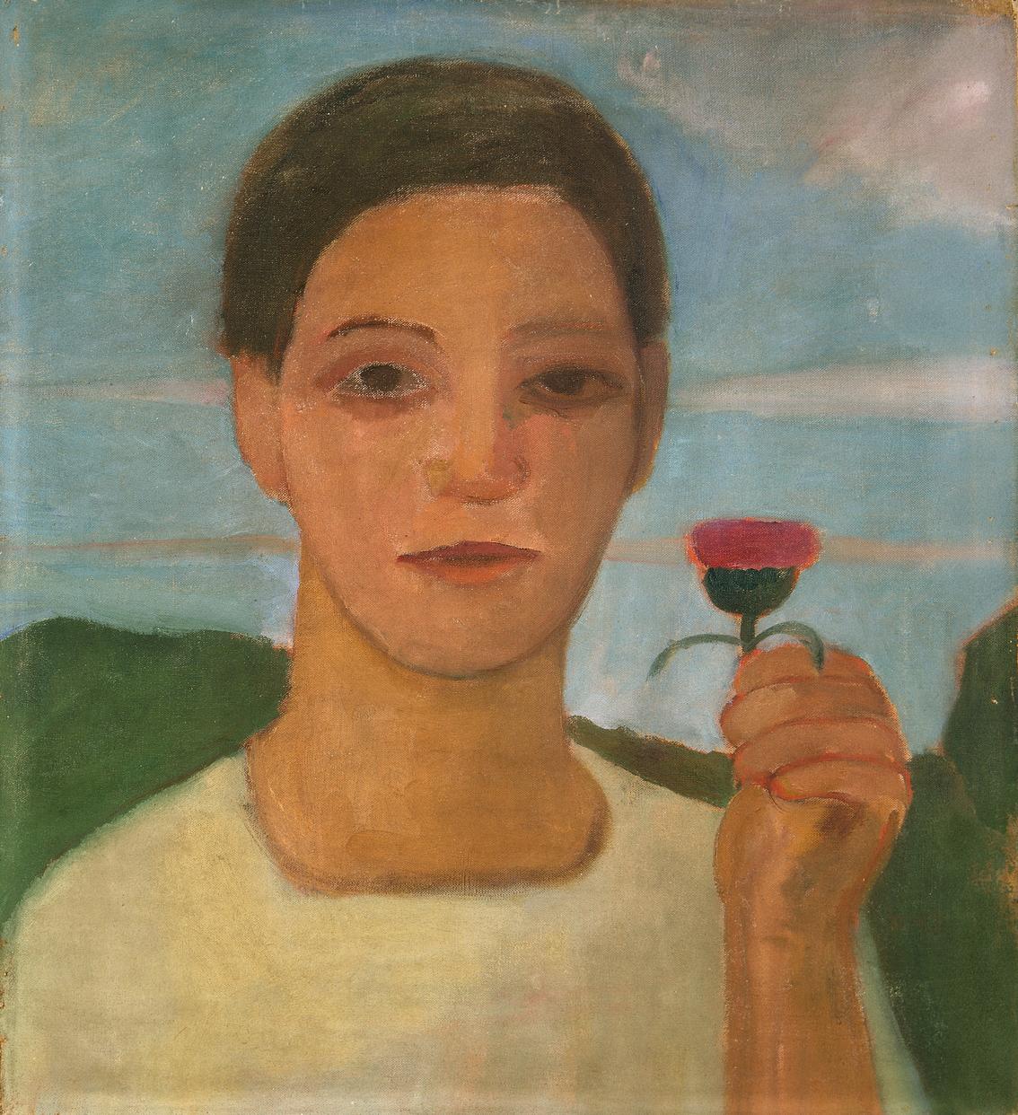 """Paula Modersohn-Becker, """"Retrato de su hermana Herma con una flor, h. 1906."""