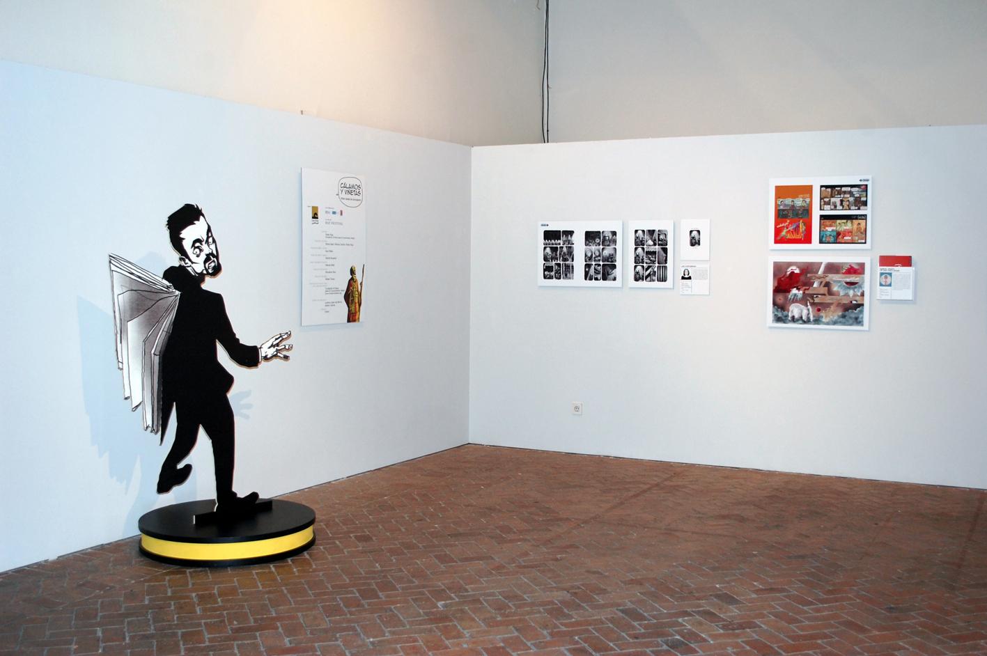Una de las salas de exposiciones de la muestra Cálamos y viñetas.