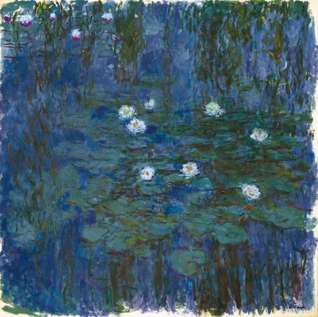 Ninfeas azules, por Claude Monet, h. 1916-1919, óleo sobre lienzo, 200 x 200 cm, París, Museo de Orsay.